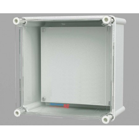 Polyester box with transparant cover, 360 x 360 x 170 mm