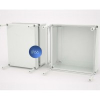 Polyester box with closed cover, 135 x 135 x 130 mm
